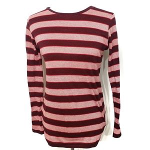 Mih Jeans Burgundy Stripped Cotton Long Sleeve Tee